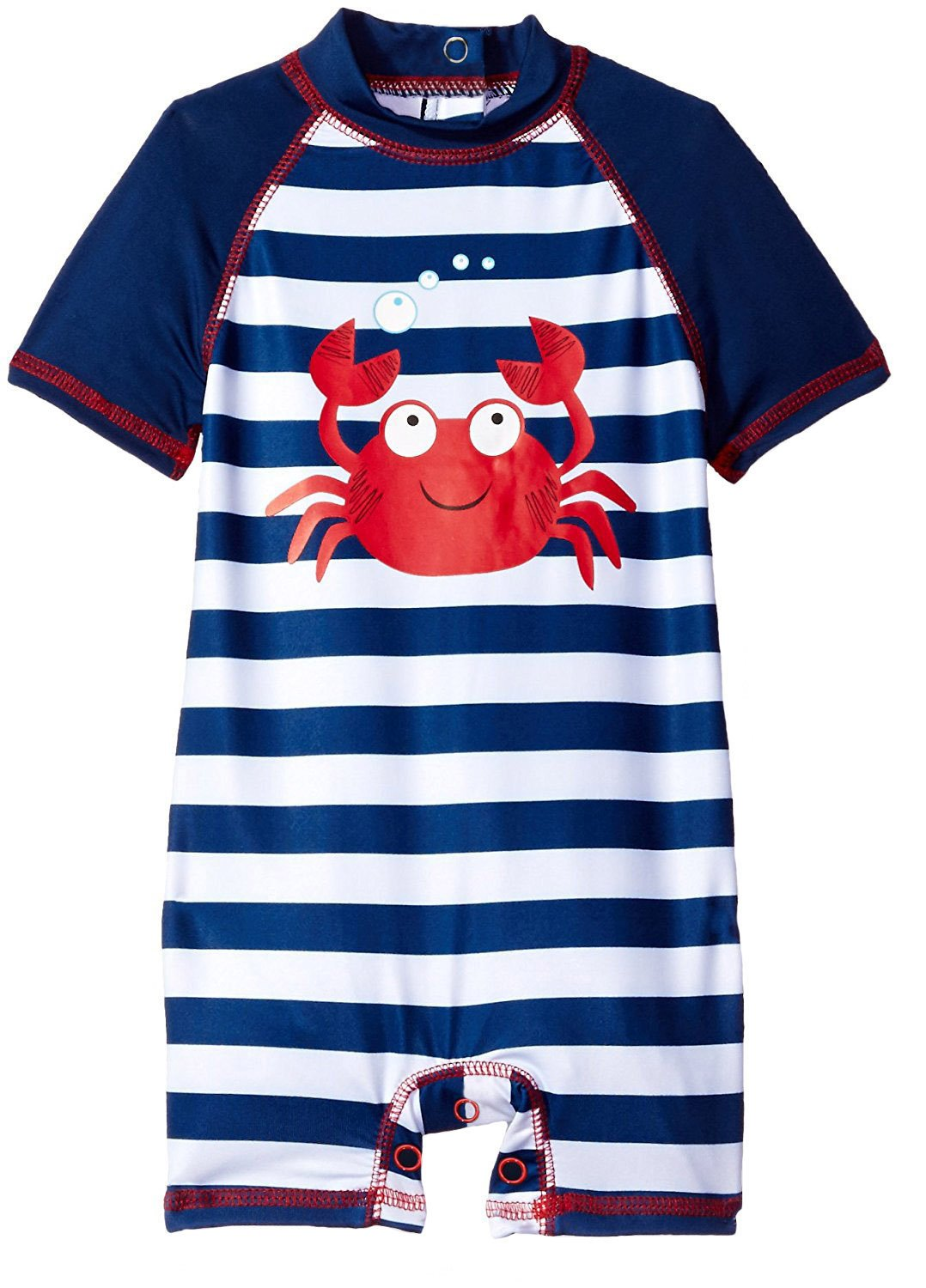 Wippette Baby Boys Stripes Crab One Piece Rash Guard Swimsuit with Snaps, Navy, 18 Months