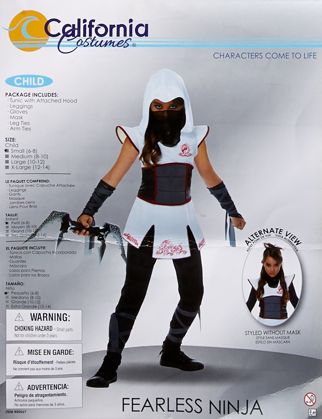 Girls White Ninja Fancy dress costume Medium: Amazon.es ...