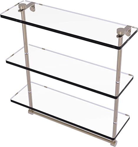 Allied Brass NS-5 16TB 16 Inch Triple Tiered Integrated Towel Bar Glass Shelf, Antique Pewter