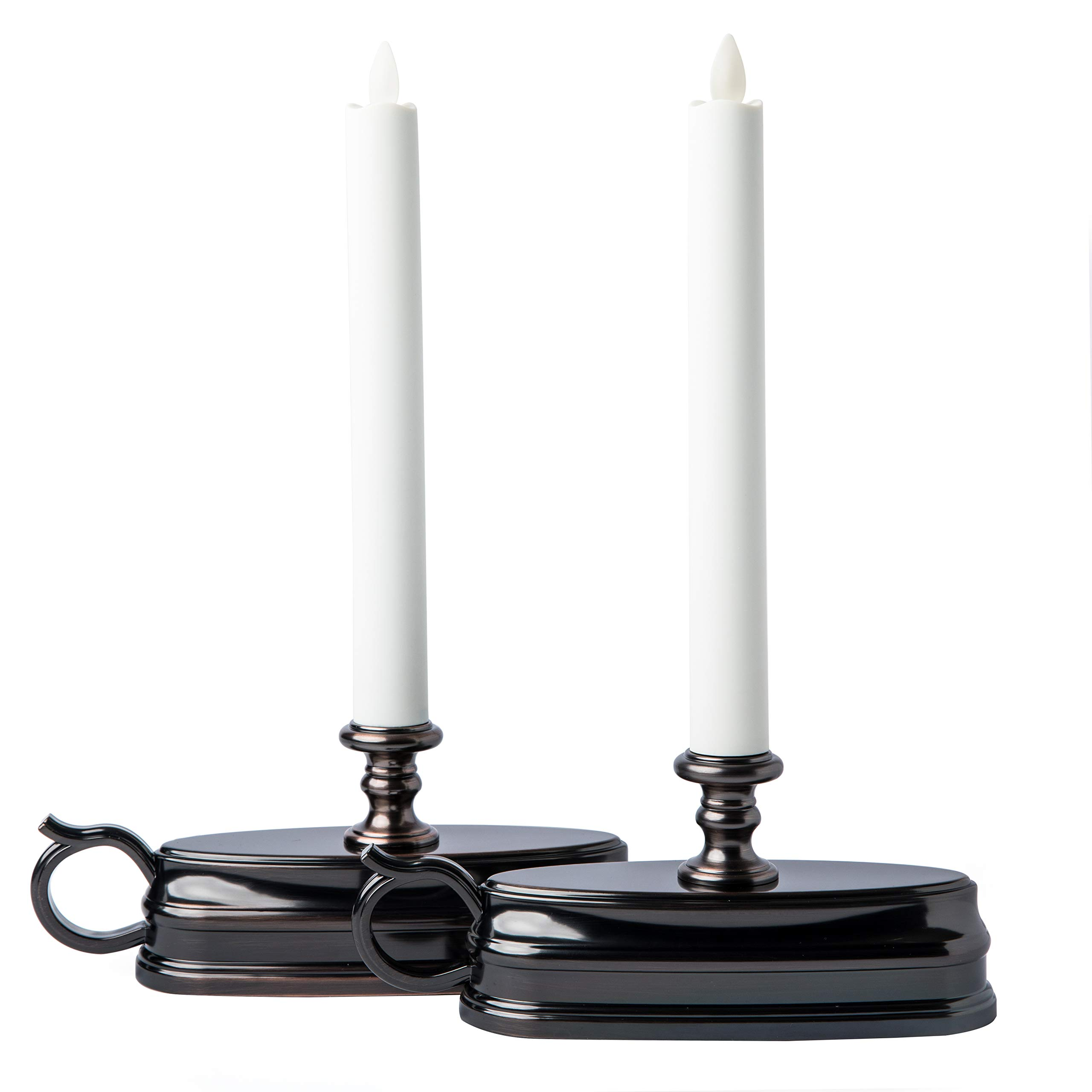Set of (2) Luminara Colonial Window Candles with Bronze Base