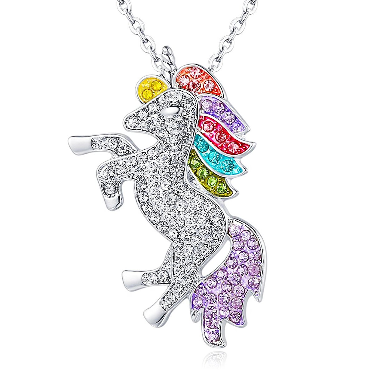 ALoveSoul Silver Tone Little Princess Rainbow Unicorn Pendant Girl Ladies Fashion Necklace Gift for women XM001