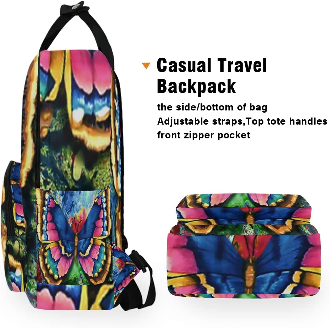 10.5x5.5x15 Colorful Butterfly Backpacks College School Book Bag Travel Hiking Camping Daypack for boy for Girl Holds 14-inch Laptop