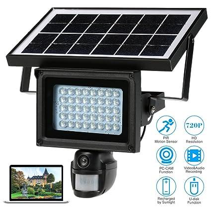 KKmoon DVR Grabadora 720P Cámara HD 40 IR LED Lámpara Solar de Calle Seguridad CCTV Detector