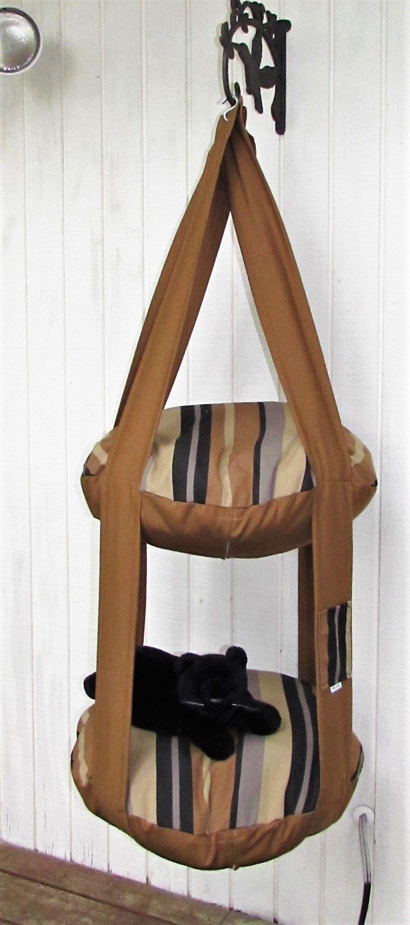 Outdoor Cat Bed Brown Beach Stripe 2 Level Kitty Cloud Cat Bed, Hanging Cat Bed, Pet Furniture, Cat Tree, Indoor Outdoor Cat Bed