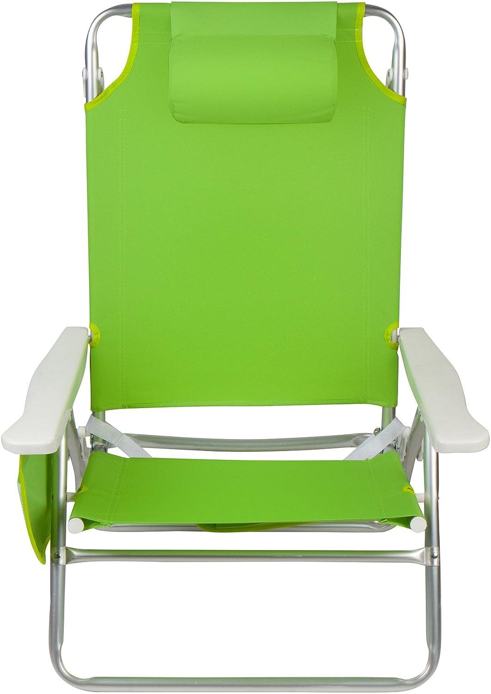 5-position Beach Chair with Carryストラップ、枕、サイドストレージポーチ&アルミニウムフレームby Trademark Innovations B075FXMBBZ ライトグリーン ライトグリーン