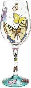 "Designs by Lolita ""Butterflies"" Hand-painted Artisan Wine Glass, 15 oz."