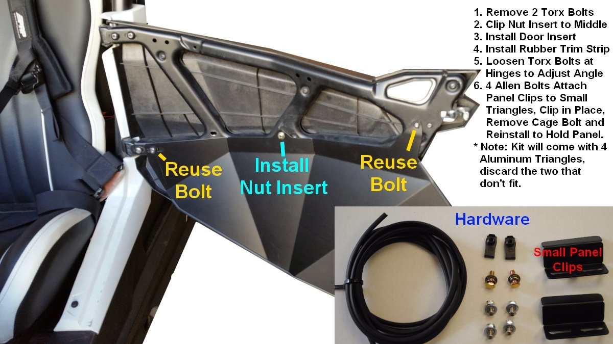 2015-2019 Polaris RZR S 900 Lower Door Insert Panels 60'' Wide RZR-S 900, fits 900S, 1000S by UTVGiant