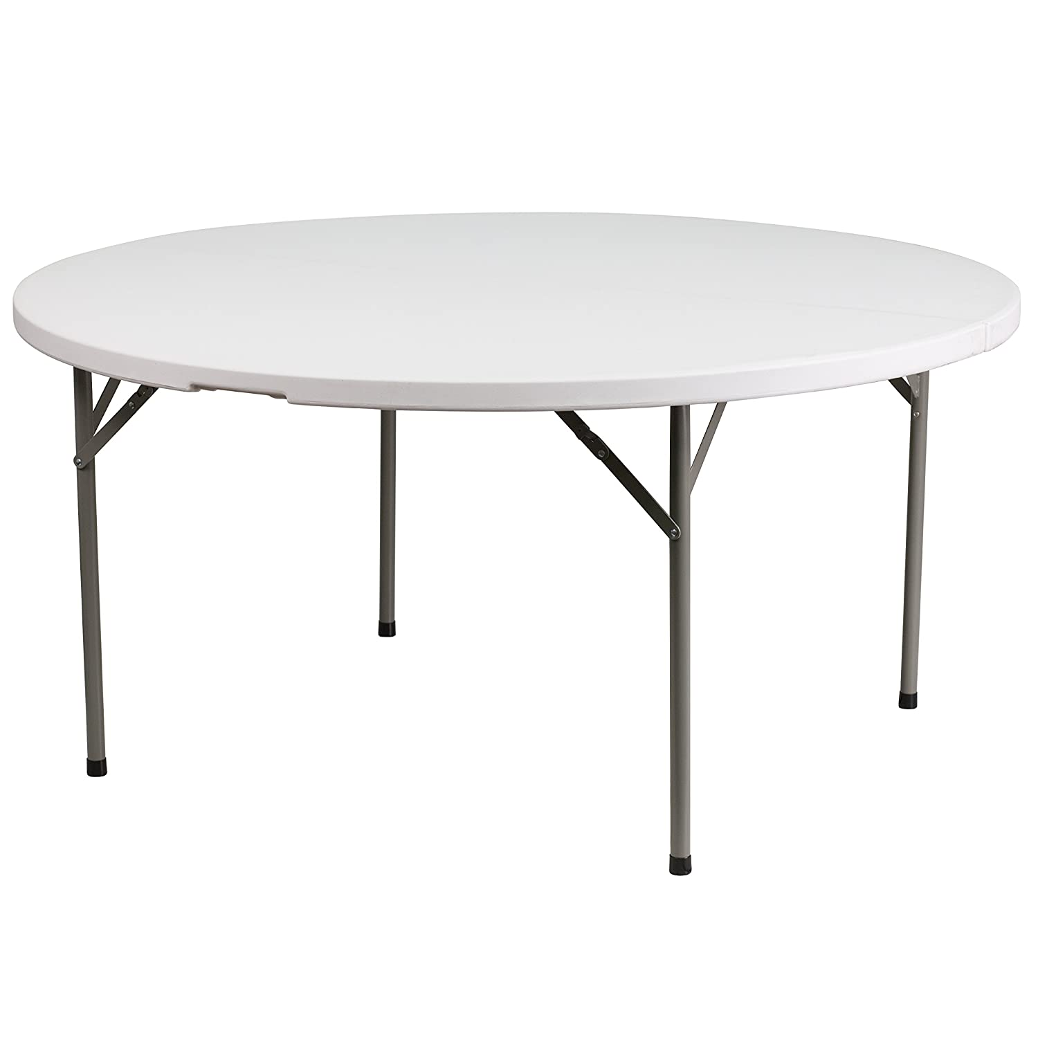 Flash Furniture 5-Foot Round Granite White Plastic Folding Table