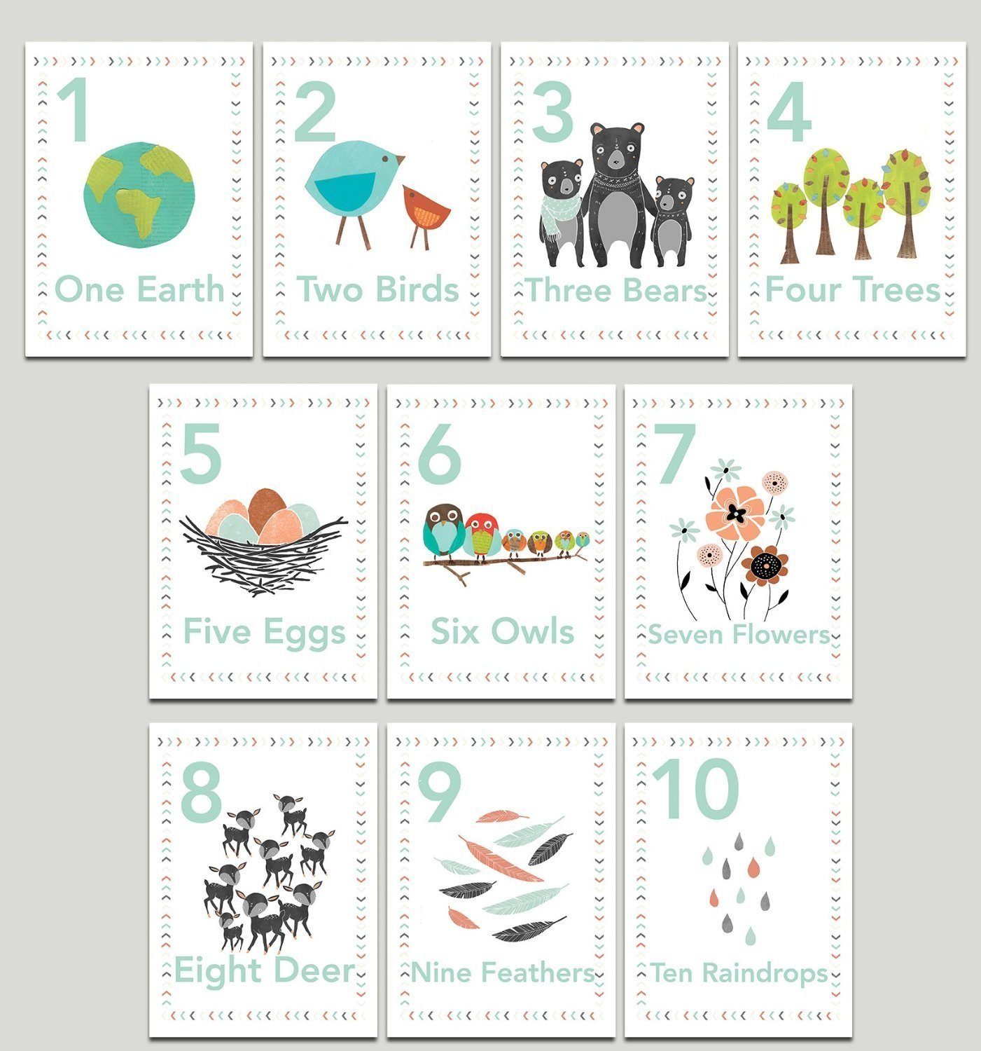 Our Earth Counting Wall Cards in English, Number Flash Cards, Set of Ten 5x7 Wall Art Prints, Nursery Wall Art Decor, Kid's Art Decor, Gender Neutral Nursery, Nature Themed, Woodland Nursery, Playroom
