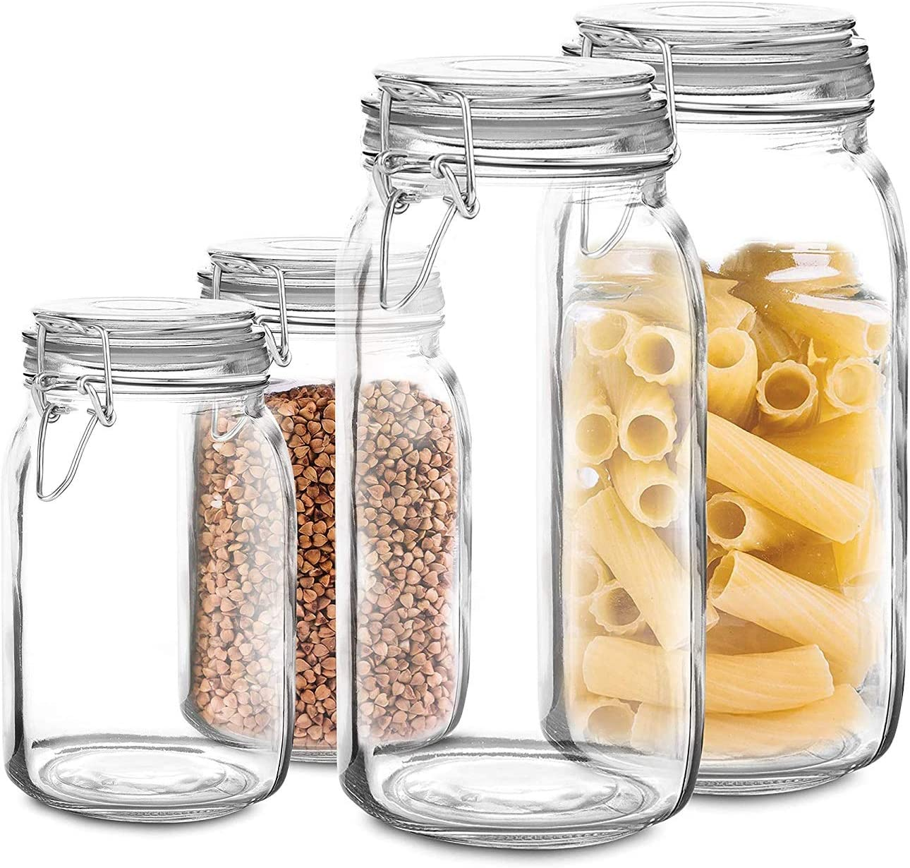 Set of 4 Glass mason Jar with Lid 2 Jars 34 Oz, 2 Jars 68 Oz | Airtight Glass Storage Container for Food, Flour, Pasta, Coffee, Candy, Dog Treats, Snacks & More | Glass Organization Canisters