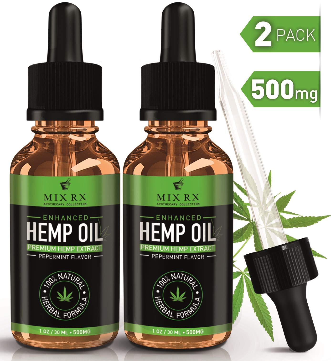 (2 Pack) Hemp Oil for Pain Relief Anxiety Sleep Support (500mg | 30ml) Natural Organic Hemp Seed Full Spectrum Extract - Zero THC or CBD Cannabidiol - Best Pure Herbal Supplements - Tincture Oil Drops