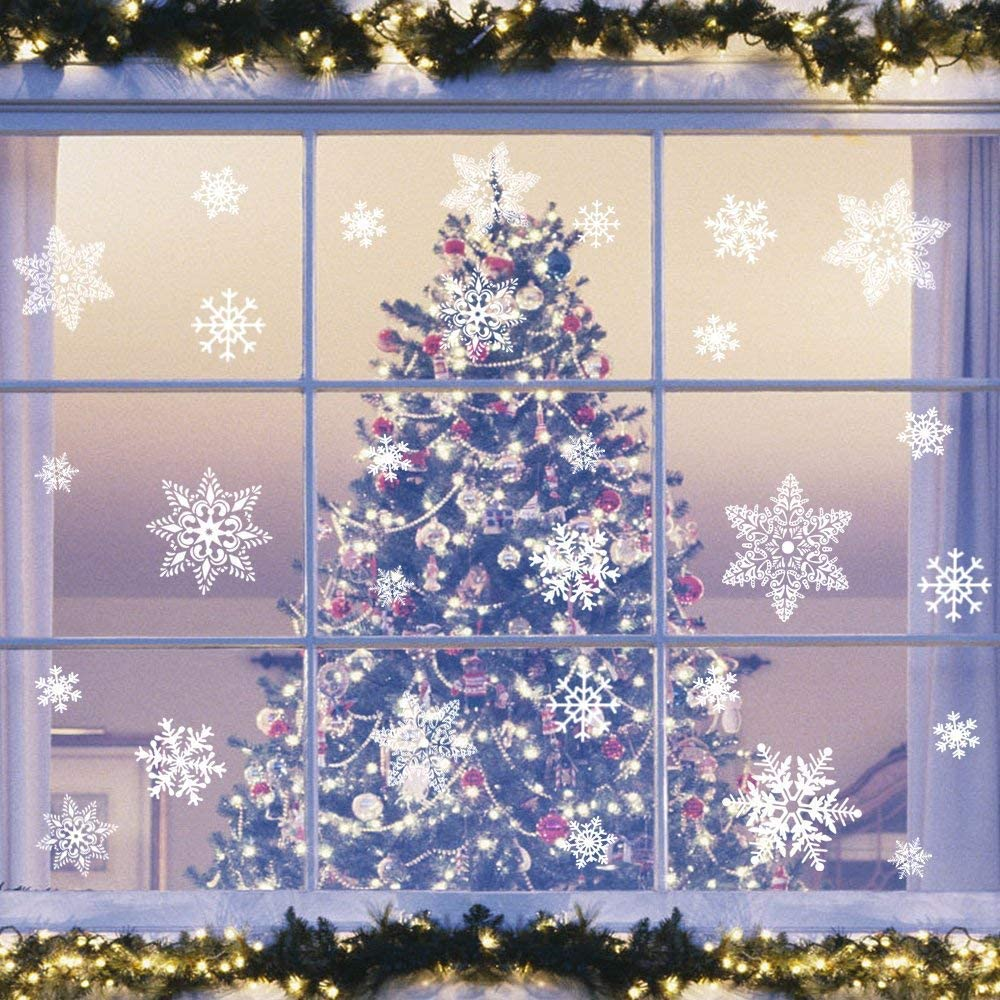 Dtzzou 95 pcs White Snowflakes Window Clings - Christmas Window Decal Stickers for Christmas Decorations Ornaments Party Supplies (5 Sheets)