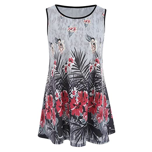 46c260e061c Amazon.com: Tops for Women, 2019 Womens Summer Floral Tunic Tank Tops  Casual Loose Sleeveless Dressy Blouses: Clothing