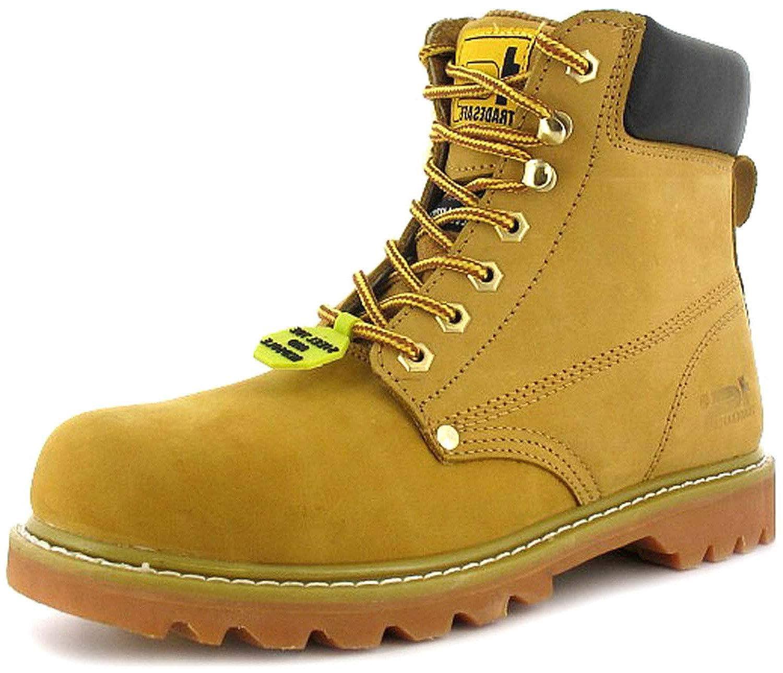 NEUF POUR HOMMES/Hommes Brun acier Tradesafe lacet acier Brun EMBOUT PROTECTEUR Chaussures blé - tailles UK 3-12 45 EU 5c4495