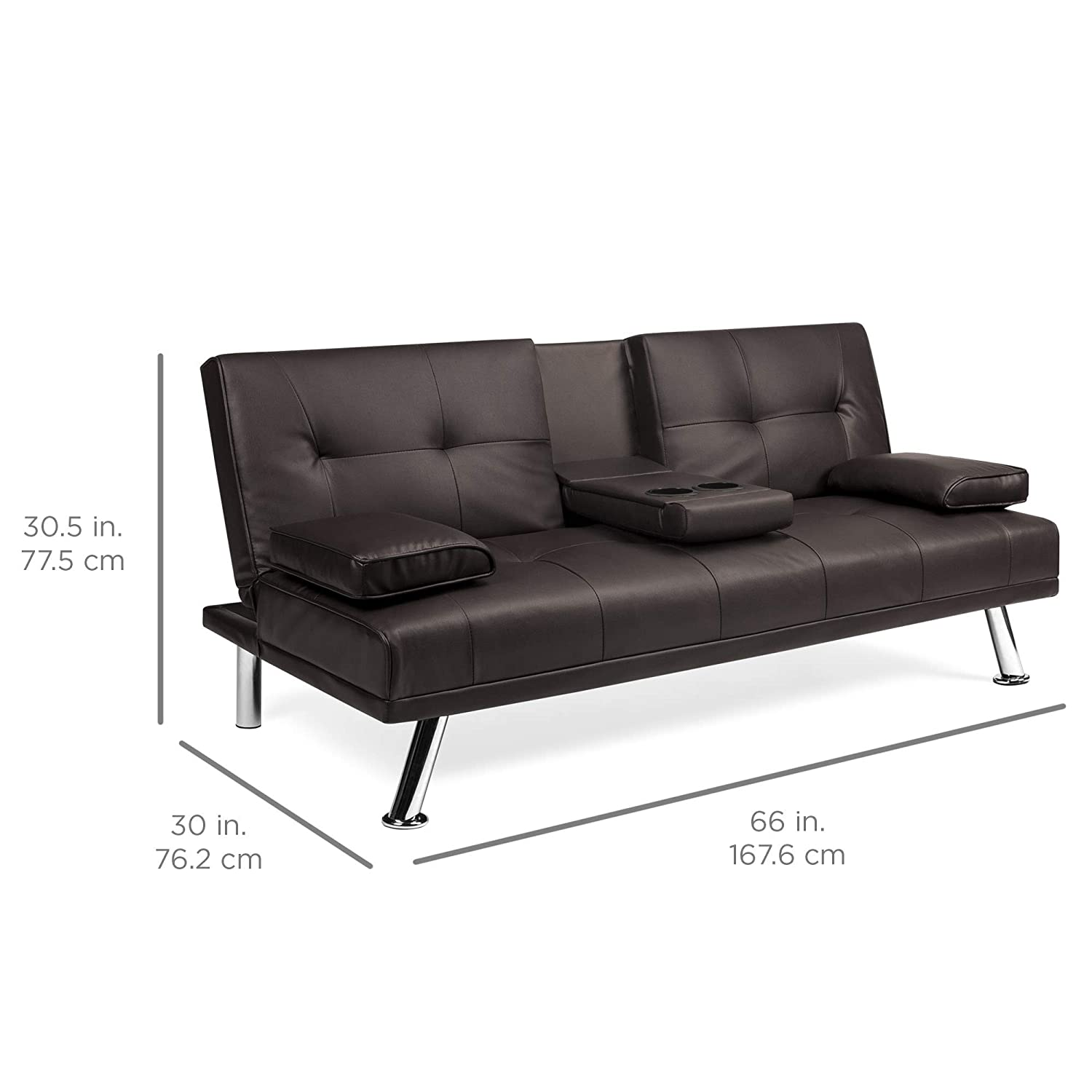 Best Choice Products Modern Faux Leather Futon Sofa Bed Fold Up /& Down Recliner Couch with Cup Holders Black