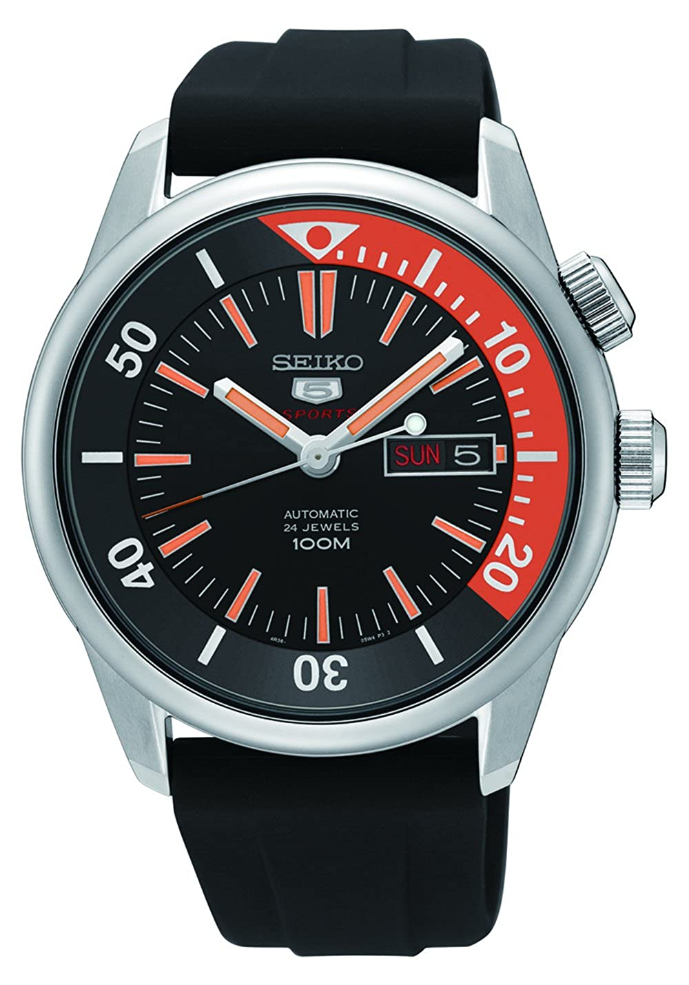 Seiko Stainless Steel Case and Rubber Strap, 24 Jewels - Silver/Black - Mens Japanese Watch - SRPB31K1 | Amazon.com