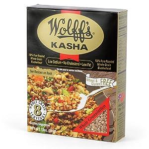 Wolff's Kasha (Whole Granulation), 13 Oz. (Pack of 6) - 100% Roasted Buckwheat
