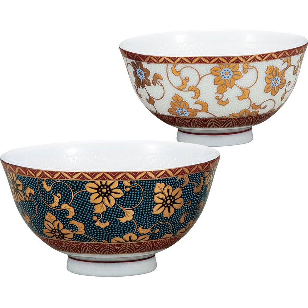 Kutani Yaki(ware) Japanese Pair Rice Bowl Gold Clematis