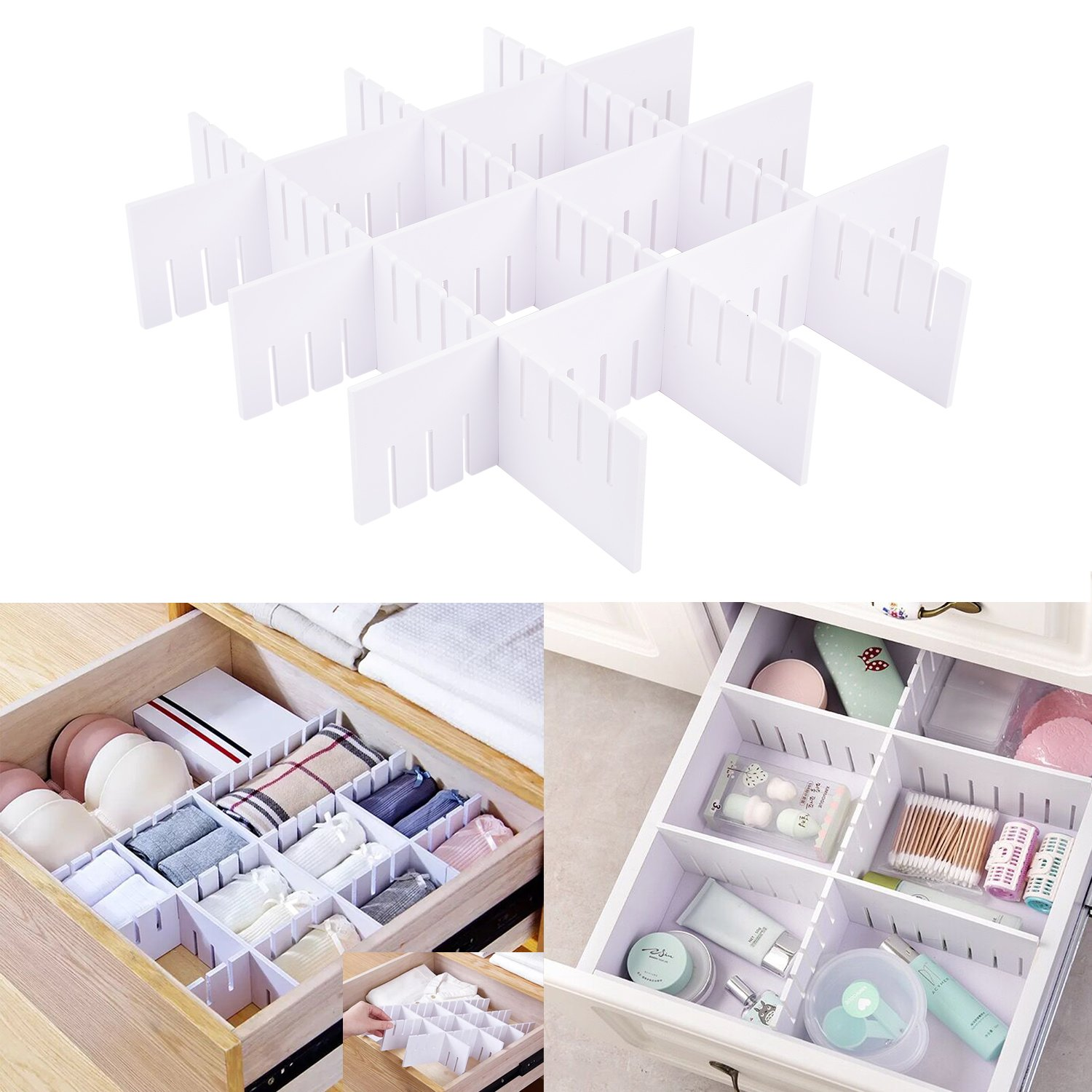 E-BAYKER Drawer Organizer, Drawer Dividers, DIY Arbitrary Splicing Sub-grid Household Storage Spacer Finishing Shelves for Home Tidy Closet & Desk Makeup Socks Underwear Scarves-3.6x18.5in (6 Pack)