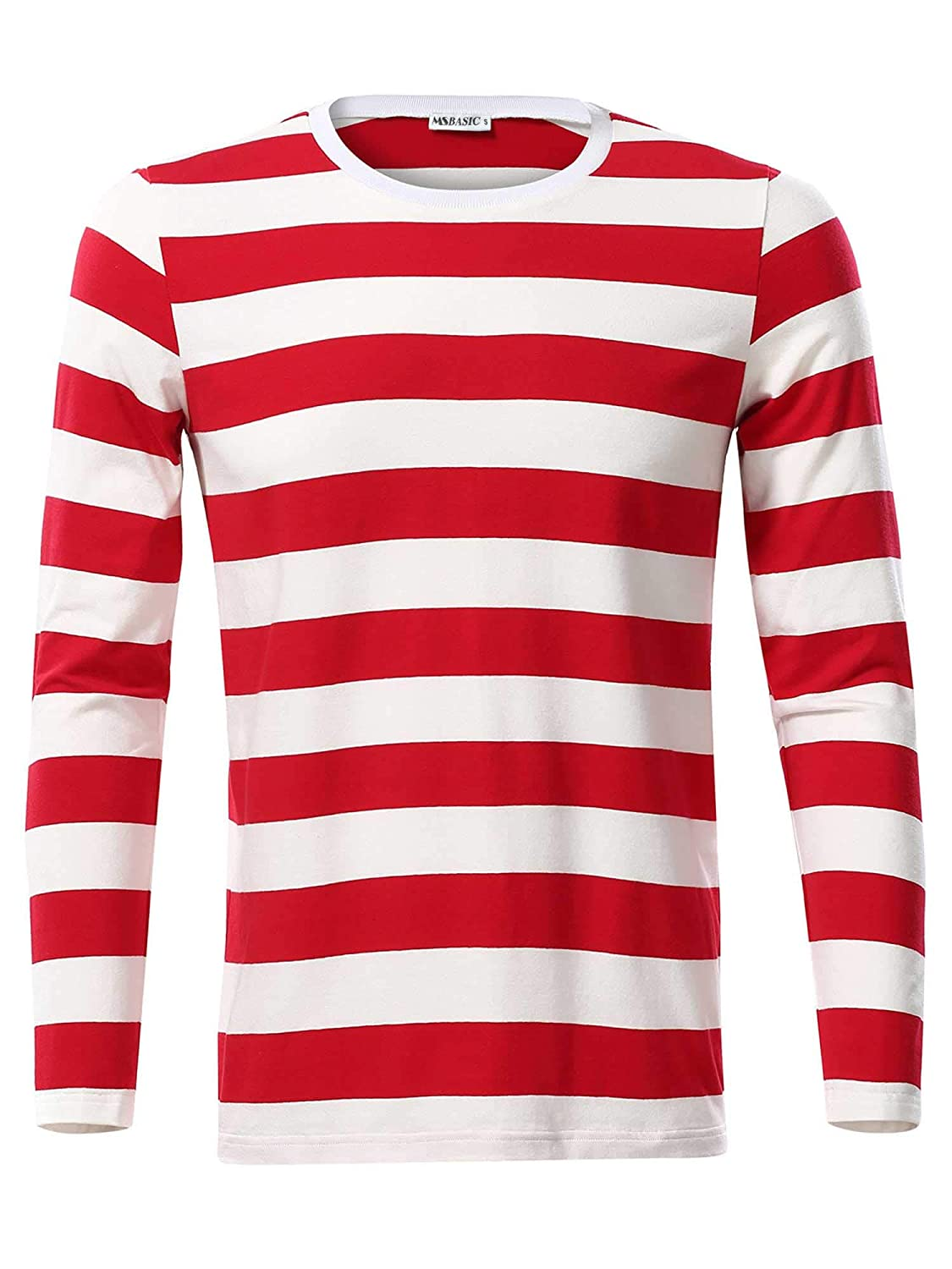 MSBASIC Mens Casual Long Sleeve Tops Striped Cotton T-Shirt