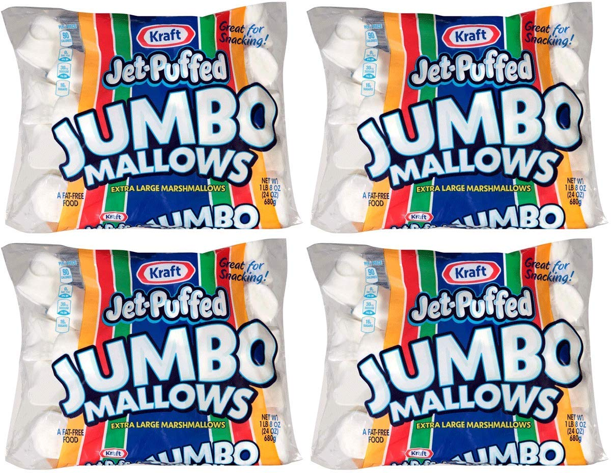 Jet-Puffed VEBJERRW Jumbo Marshmallows, 4 Packs of 8 (24 Ounce/Bag) by Jet-Puffed (Image #1)