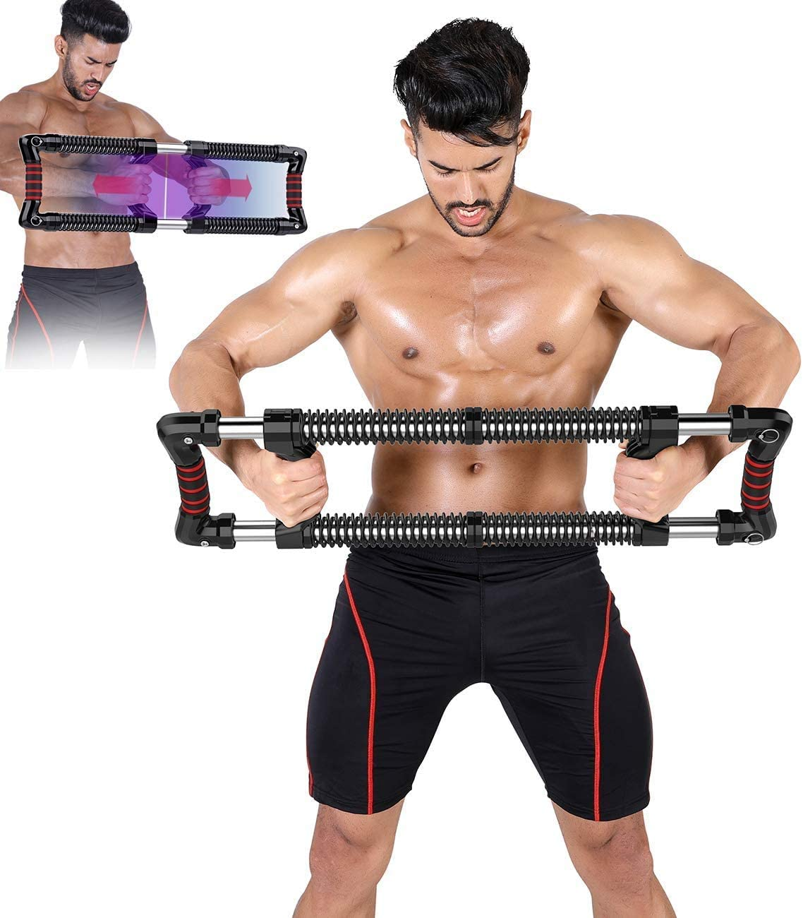 EAST MOUNT Push Down Bar Machine, Chest Expander Workout Equipment, at Home Personal Gym Fitness Upper Body Arm Shoulder Exercise Training Muscle and Strength Builder.