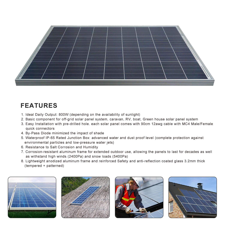 Amazon.com: ECO-WORTHY - Panel solar monocristalino de 200 ...