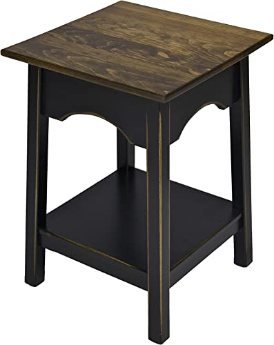 2-Tier Side Table Fully Assembled Square Wooden End Tables with Storage Shelf Amish Furniture for Living Room Home Decor Black