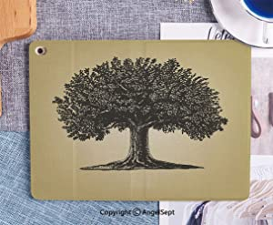 Fashionable iPad 6th/5th Generation Case New iPad 9.7 INCH 2018/2017 Case Full-Body Shockproof Protective Case for iPad 5th/6th Gen,Tree in Engraving Style