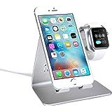 Bestand iPhone/iPad/Apple watch対応 スマートフォン充電クレードル アップルウォッチ 両用 充電デスクトップスタンド (silver)