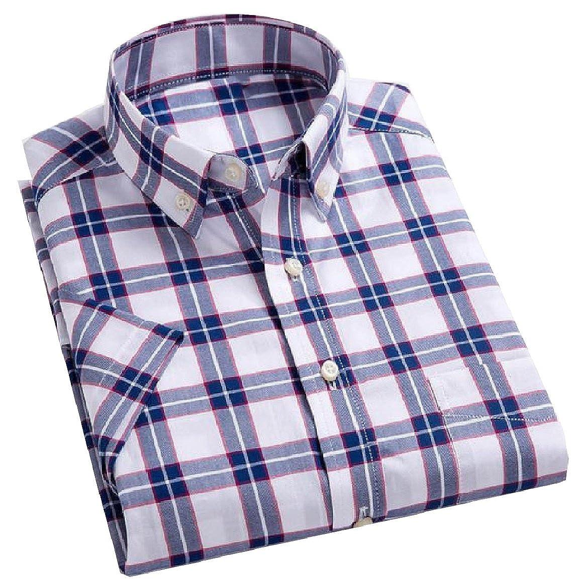 YUNY Mens Classic Plaid Summer Basic Cotton Short-Sleeve Casual Shirt 1 M
