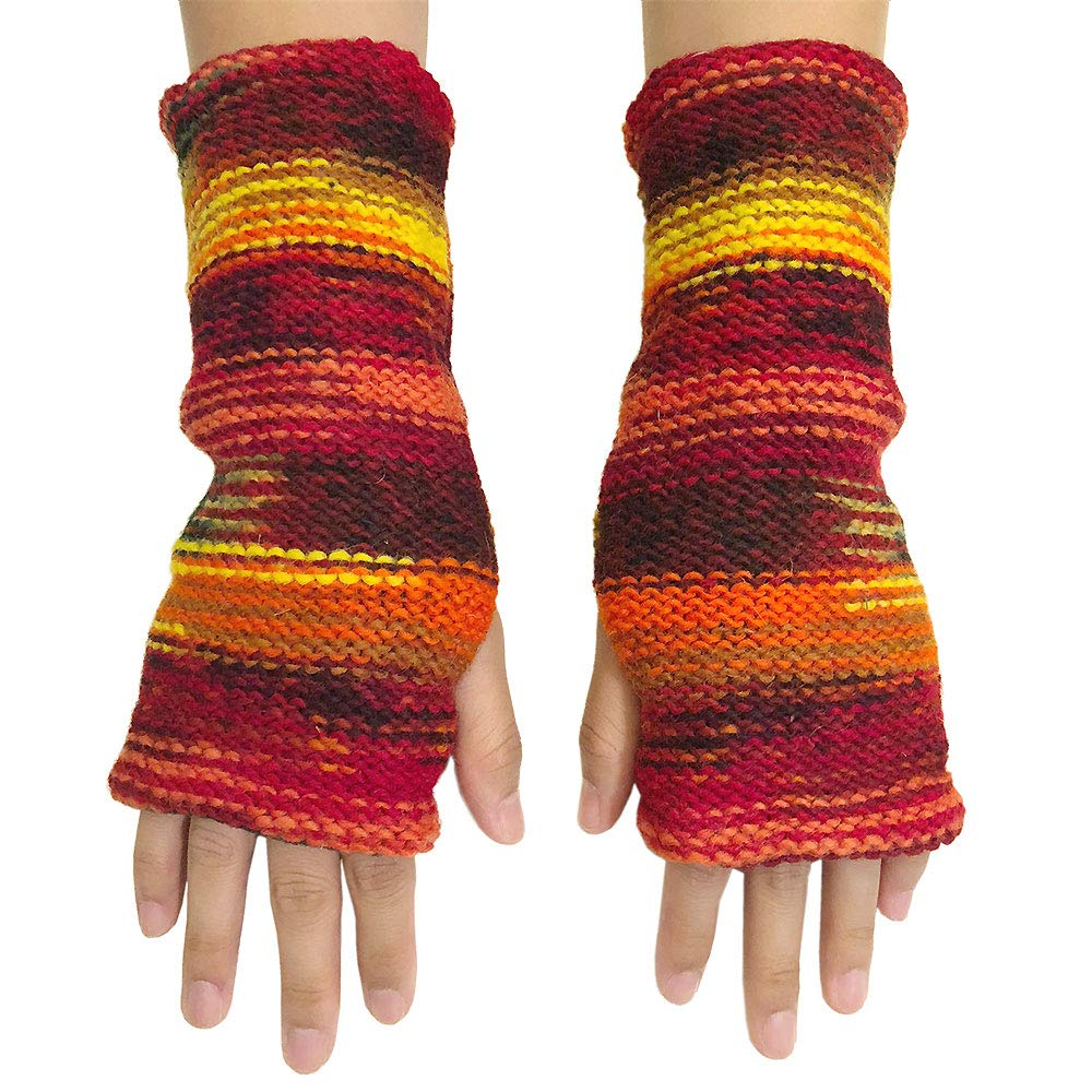CFrost Women's Hand Knit Warm Sunrise Fingerless Arm Warmer Gloves