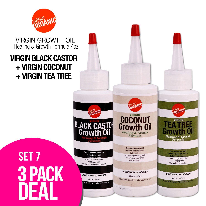 (3-in-One) Virgin Organic Black Castor, Coconut, Tea Tree Growth Oil Healing & Hair Growth Formula 4oz