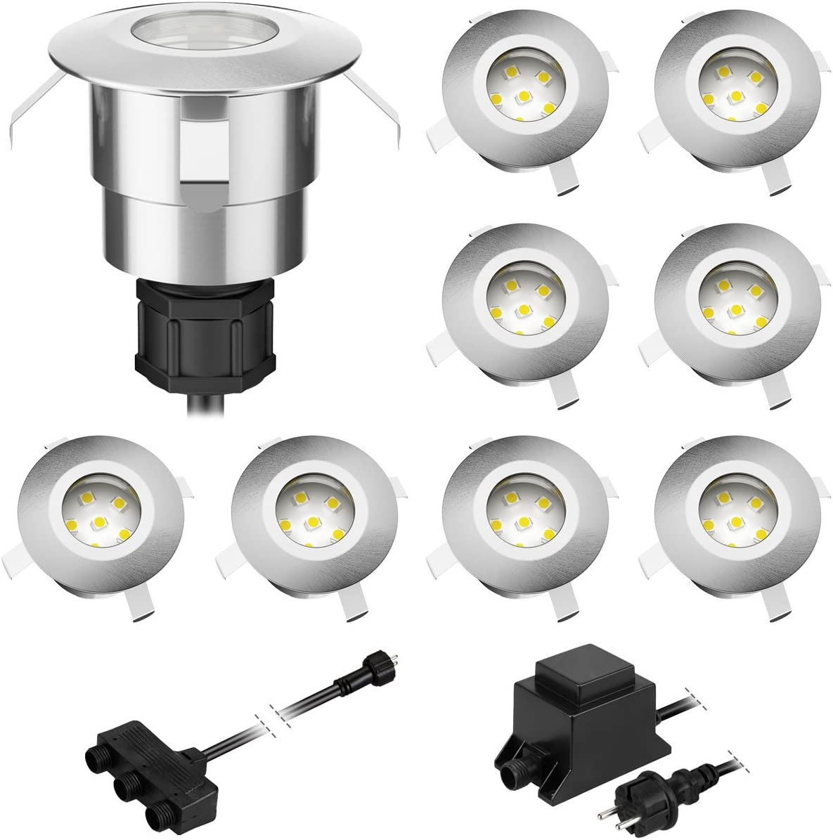 Parlat LED empotrada en el suelo Atria para exteriores de aluminio blanco cálido, 14lm cada una, IP65, 40mm Ø Juego de 9