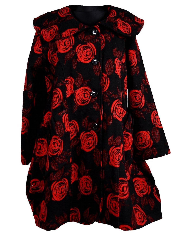 Wolle Mantel Patchwork Übergang Winter Trench Coat Kragen Rüschen Lagenlook Rosen Blumen Rot Schwarz 52 54 56 XL XXL XXXL