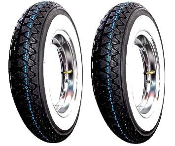 2 ruedas completas ya montadas para Piaggio Vespa PX 125 150 200 con:2 tapacubos, ...