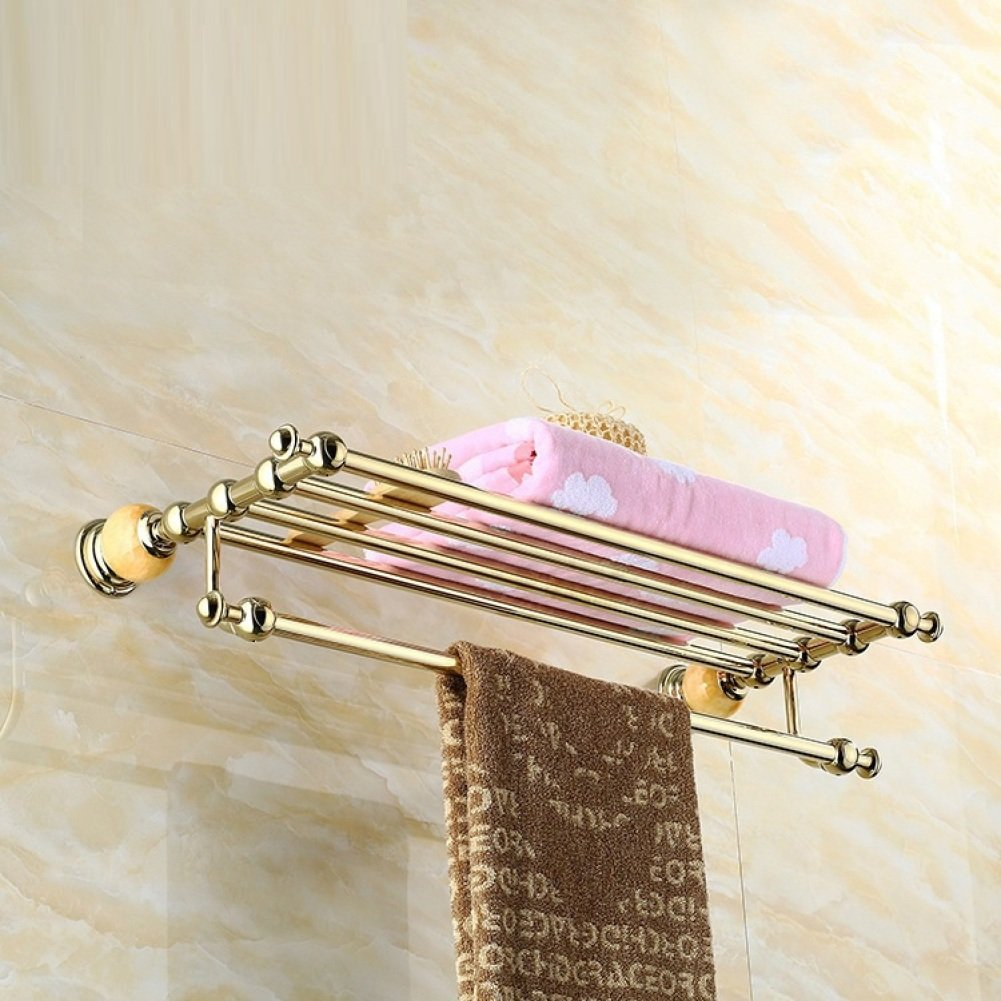 LJ&L European retro style copper alloy towel rack, drilling installation, anti-corrosion, home and hotel bathroom upscale luxury decoration hardware accessories,A,Length 60cm by LIUJIANGLONG (Image #3)