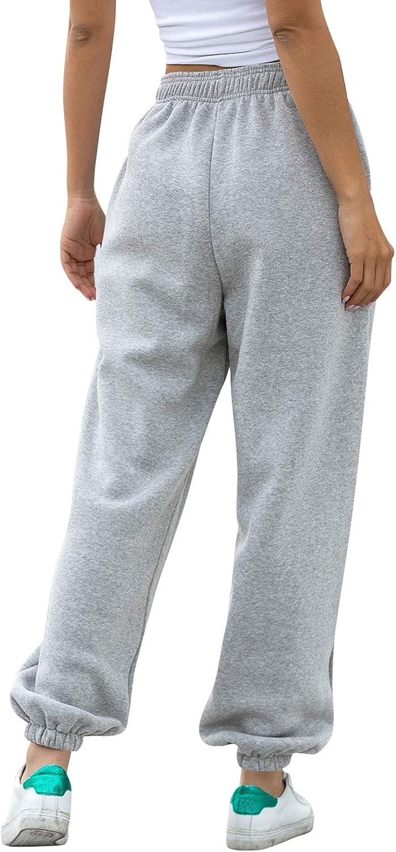 Amormio Womens Active Elastic Waist Cotton-Blend Fleece Baggy Workout Sweatpants Joggers Lounge Pants Sportswear