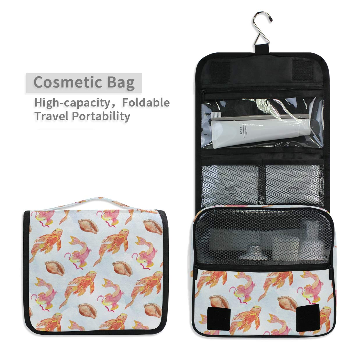 7675c54d2b6a Amazon.com : Shell Japan Fish Hanging Foldable Toiletry Cosmetic ...