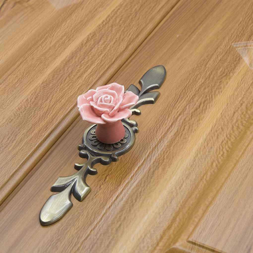 Republe Rose Ceramics Colorful Cabinet Cupboard Round Handles Wardrobe Drawer Closet Door Pull Knobs Single Hole