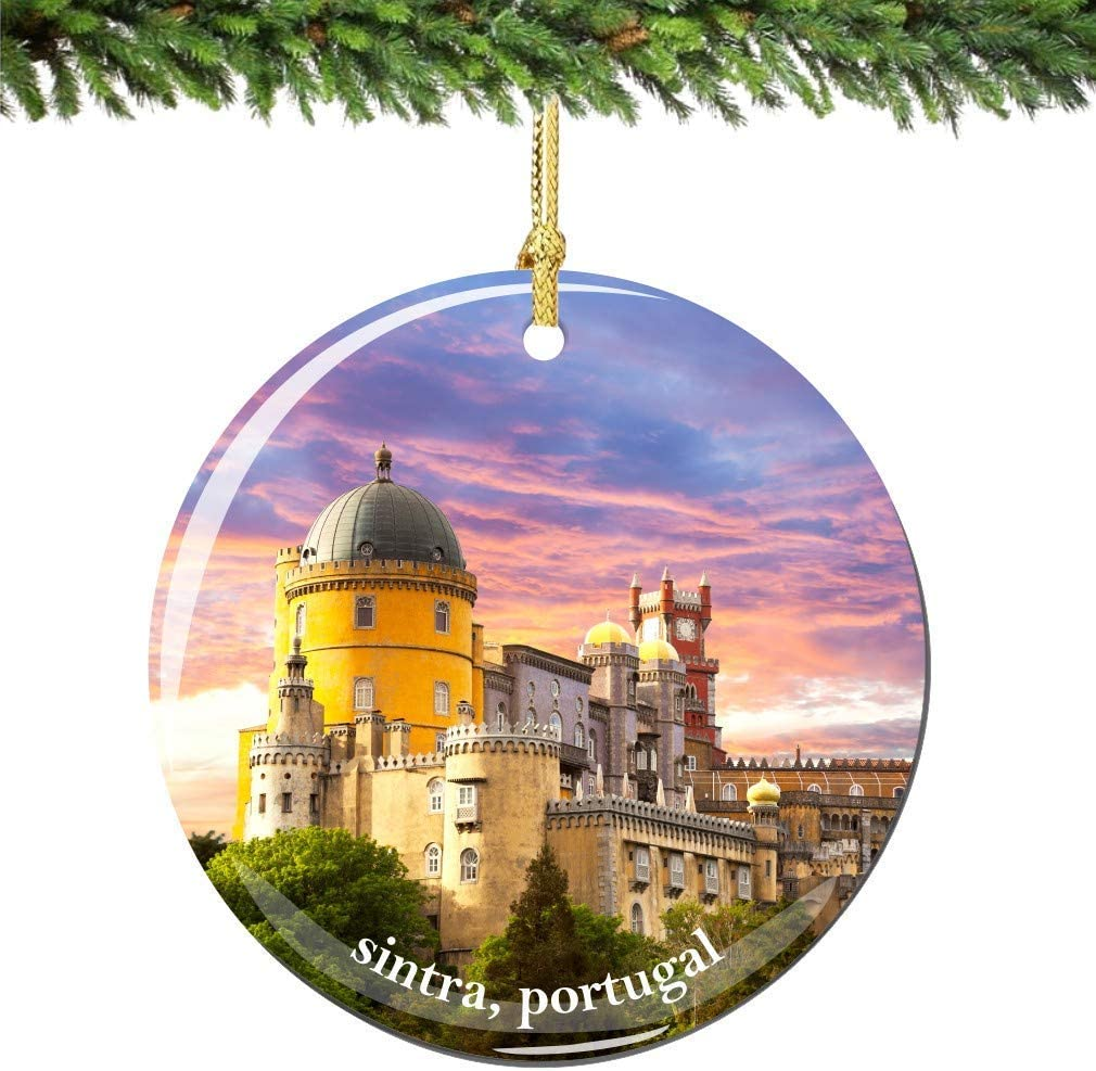 Amazon Com City Souvenirs Sintra Portugal Christmas Ornament Porcelain Double Sided Home Kitchen