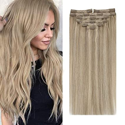 Sunny Clip in Hair Extensions Blonde Human Hair 18inch Double Weft Clip on Hair Extensions Real Human Hair Dark Ash Blonde Highlight Hair Extensions Silky Straight 7PC 120G