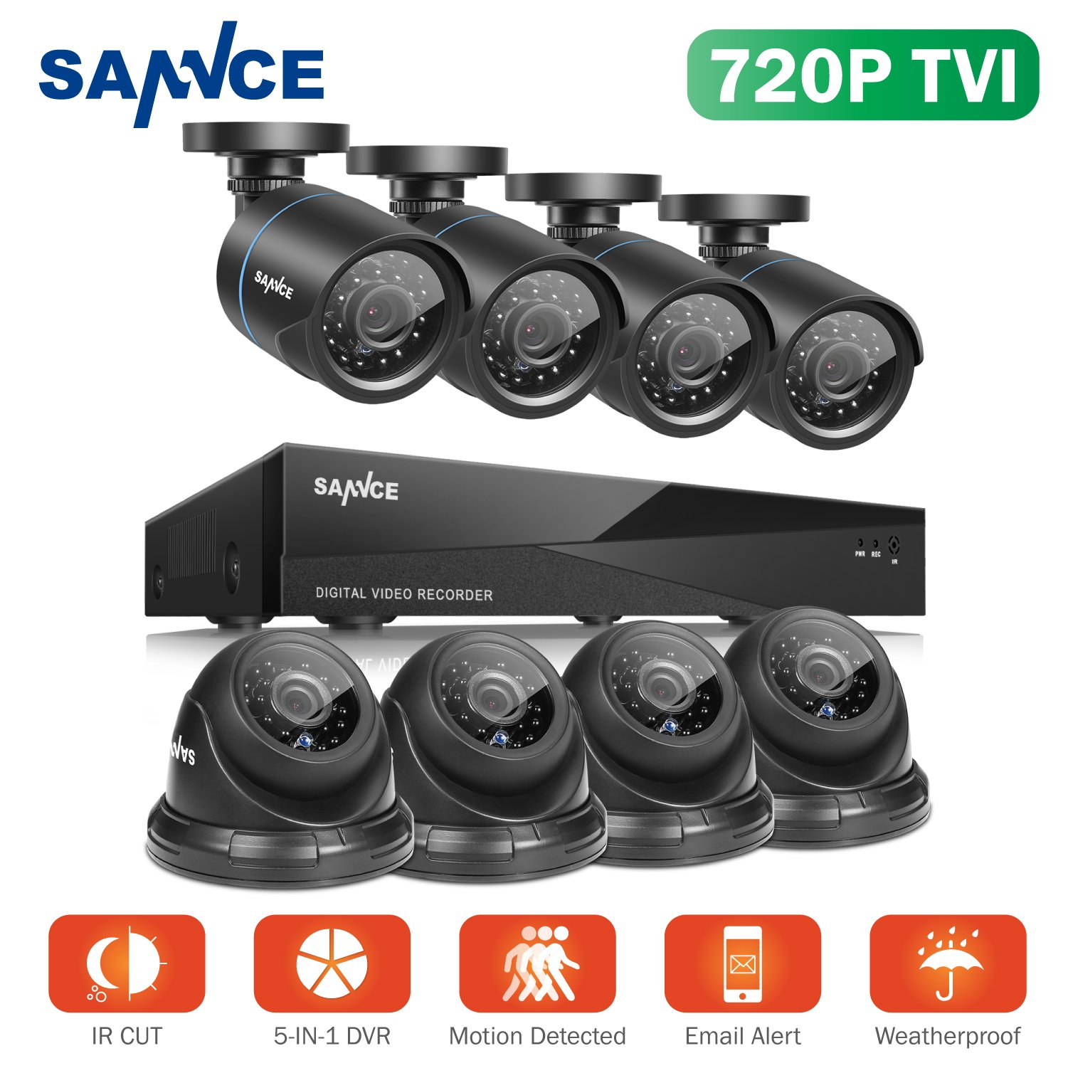 SANNCE 8CH 1080N DVR Recorder Home Security Systems and (8) 1280TVL Outdoor/Indoor Weatherproof Superior Night Vision CCTV Cameras with Remote Access and Motion Detection, NO HDD by SANNCE (Image #1)