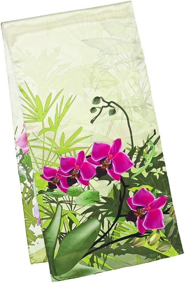 VON LILIENFELD/® Foulard Soie Femme Motif /Écharpe Cache-Nez Floral Orchid/ées