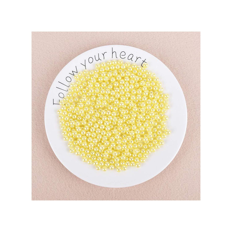 4 mm aprox 1000Pcs Amarillo 100 1000Pcs con el agujero ABS imitaci/ón de perlas Perlas de pl/ástico redondo de acr/ílico del grano del espaciador para el bricolaje joyer/ía que hace los resultados