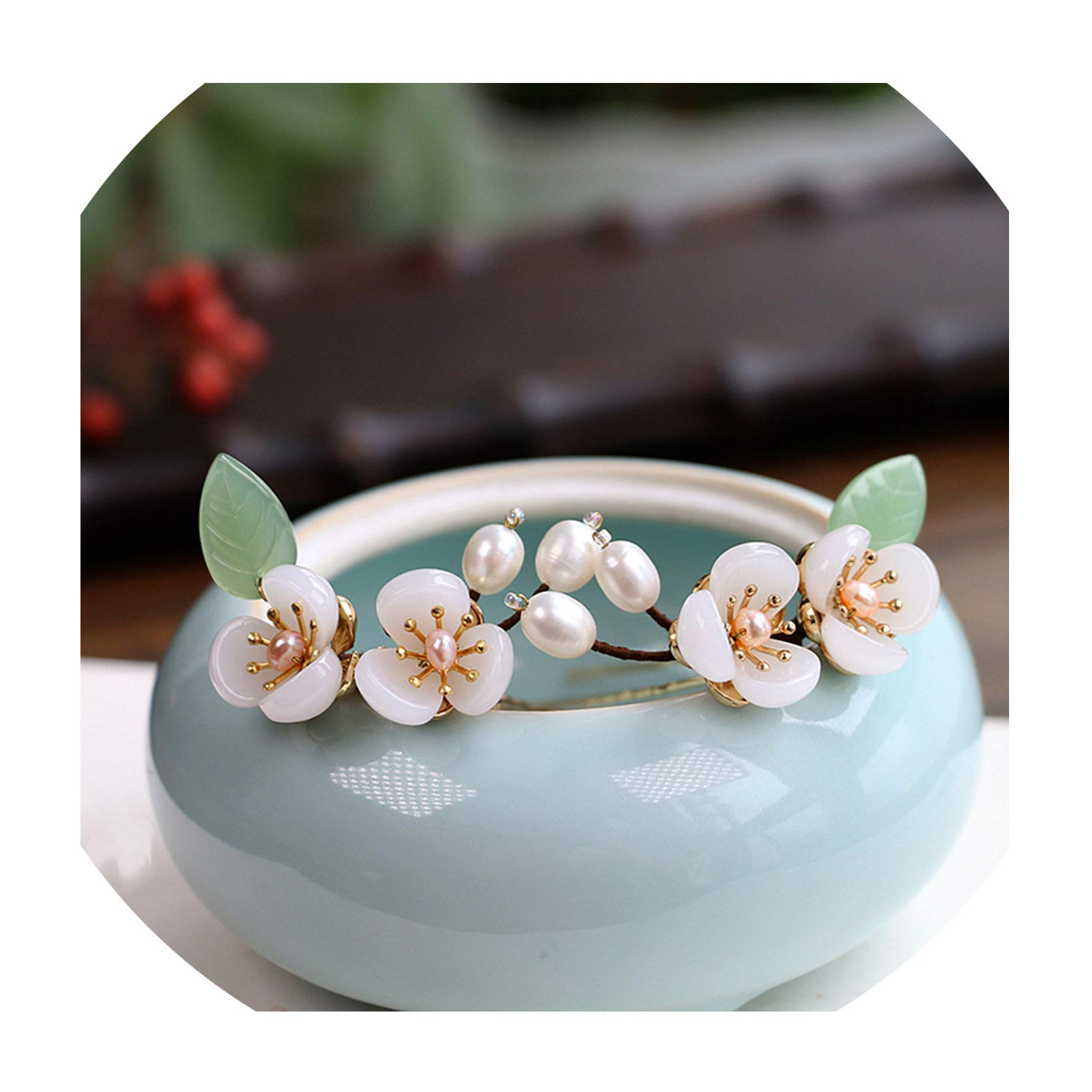 2pc Pearl Copper Blossom Hair Pin Chinese Hair Pins Retro Hairpin Bridal Jewelry Wedding Hair Accessories Pince,WIGO1359 2PC by MAY HAPPY