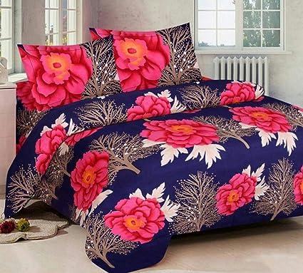 shivamconcepts Cotton 3D Glace Double Size Bedsheet a6 (Multicolour)