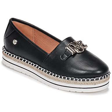 d86deb1e5b5 Love Moschino Women s Espadrilles in Black Leather with Steel Logo. Size 40