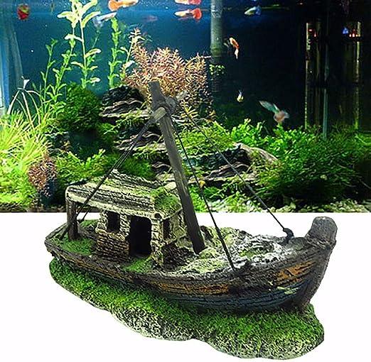 Aquarium Ship Decoration Boat Shipwreck Fish Tank Decor Wreck Sunk for Freshwater Saltwater Balight