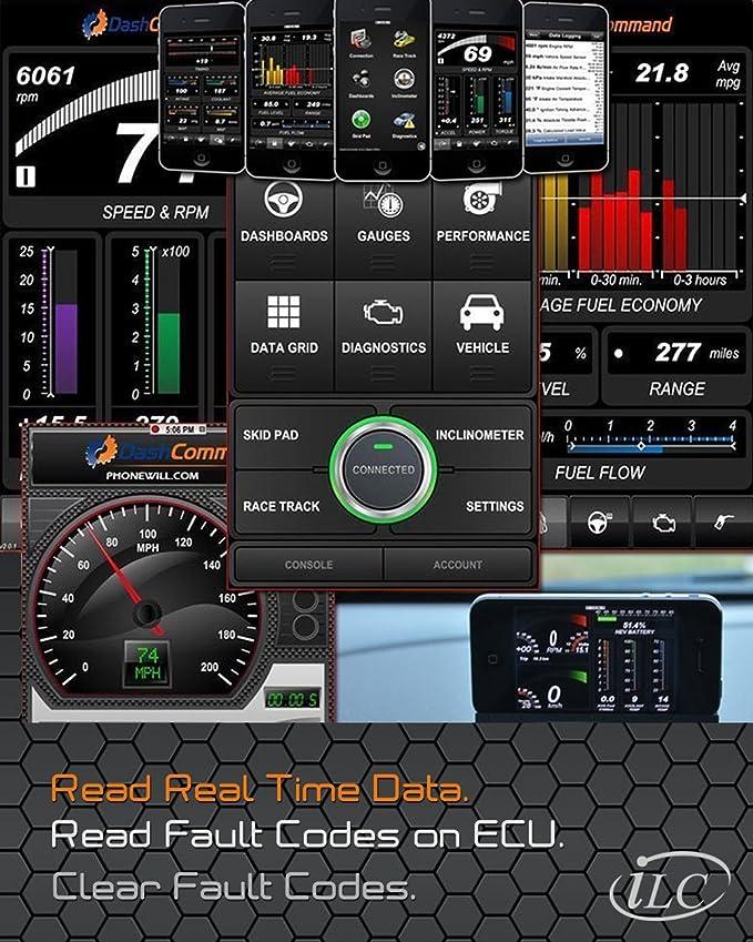 iLC OBD2 OBD II Inalámbrico Coche Código Lector Escanear Herramienta ES OBD2 - Conectado Via WiFi con iOS, Android & Windows - 3000 Código Base de Datos ...